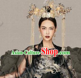 Asian Chinese Ancient Handmade Classical Hair Accessories Hairpins Palace Lady Luxurious Phoenix Coronet Complete Set for Women