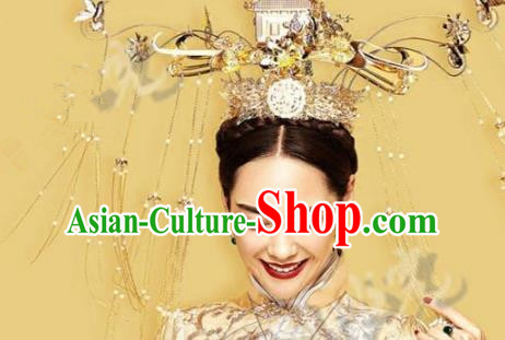 Asian Chinese Ancient Handmade Classical Hair Accessories Hairpins Exaggerated Phoenix Coronet Complete Set for Women