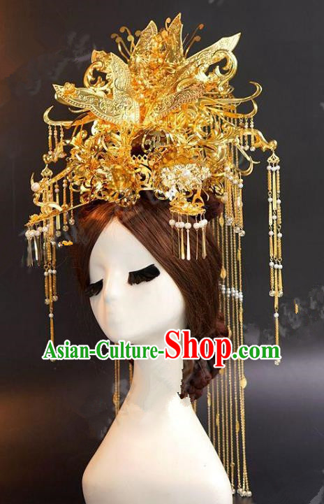 Asian Chinese Ancient Handmade Classical Hair Accessories Hairpins Xiuhe Suit Headdress Phoenix Coronet for Women
