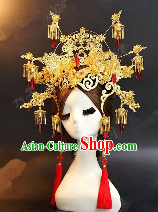 Asian Chinese Ancient Handmade Classical Hair Accessories Hairpins Xiuhe Suit Golden Phoenix Coronet for Women