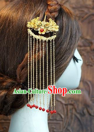 Chinese Handmade Classical Luxurious Golden Hairpins Hair Accessories Ancient Tassel Step Shake for Women