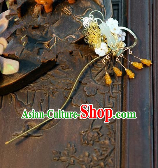 Chinese Handmade Classical Luxurious Jade Hairpins Hair Accessories Ancient Tassel Step Shake for Women