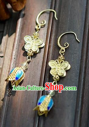 Asian Chinese Traditional Handmade Jewelry Accessories Bride Butterfly Cloisonne Earrings for Women