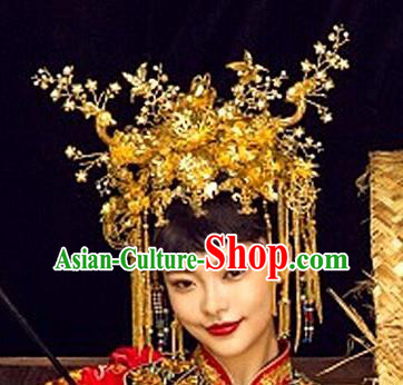 Chinese Handmade Classical Luxurious Hairpins Hair Accessories Ancient Bride Golden Phoenix Coronet for Women
