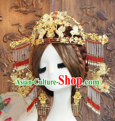 Chinese Ancient Handmade Classical Hair Accessories Palace Lady Hairpins Phoenix Coronet Bride Headdress for Women