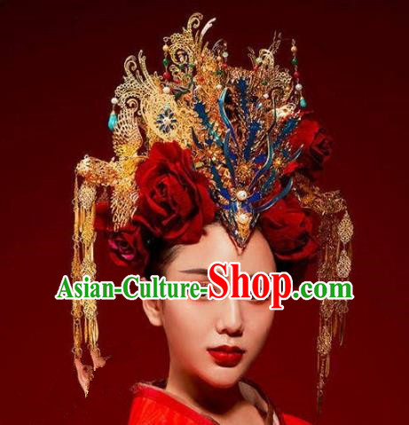 Chinese Ancient Handmade Classical Hair Accessories Phoenix Coronet Hairpins Bride Headdress for Women