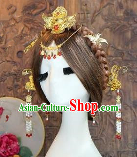 Chinese Handmade Classical Hair Accessories Ancient Bride Step Shake Hairpins Complete Set for Women