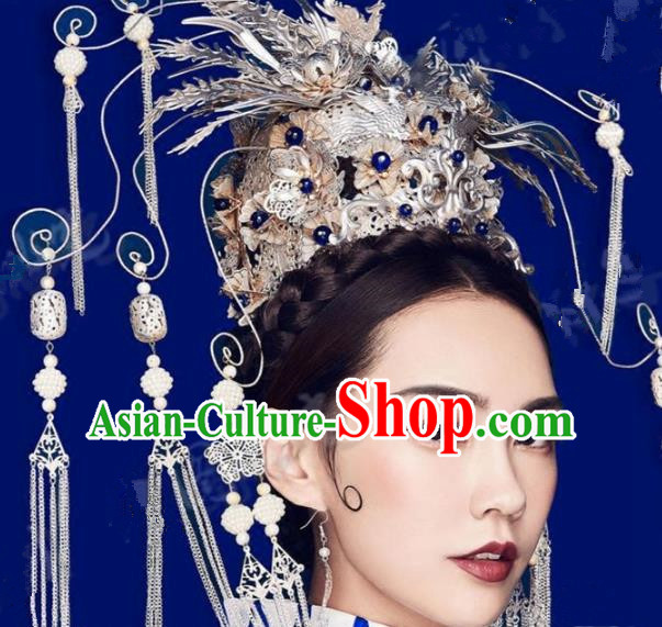 Asian Chinese Handmade Classical Hair Accessories Tassel Phoenix Coronet Bride Hanfu Hairpins Headwear for Women
