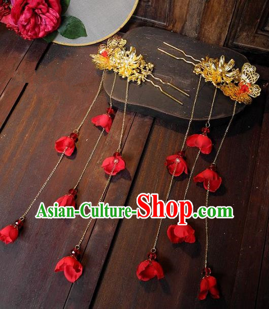 Chinese Ancient Handmade Classical Wedding Hair Accessories Xiuhe Suit Tassel Hairpins for Women