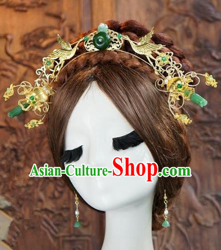Chinese Ancient Handmade Classical Wedding Hair Accessories Phoenix Coronet Xiuhe Suit Bride Hairpins for Women