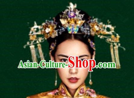 Asian Chinese Handmade Classical Hair Accessories Phoenix Coronet Bride Xiuhe Suit Hairpins Complete Set for Women