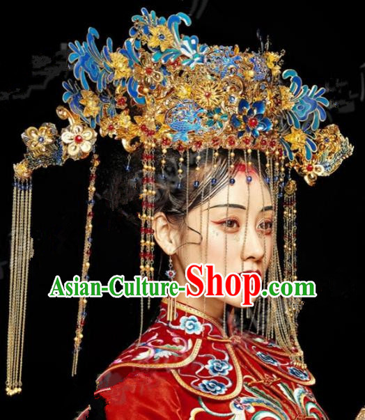 Asian Chinese Ancient Handmade Classical Hair Accessories Bride Luxurious Phoenix Coronet Hairpins Complete Set for Women