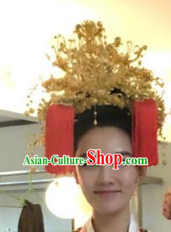 Chinese Handmade Classical Hair Accessories Ancient Palace Lady Golden Phoenix Coronet Headdress for Women