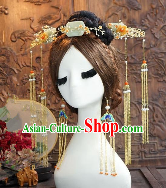 Chinese Handmade Classical Hair Accessories Ancient Palace Lady Jade Hairpins Complete Set for Women