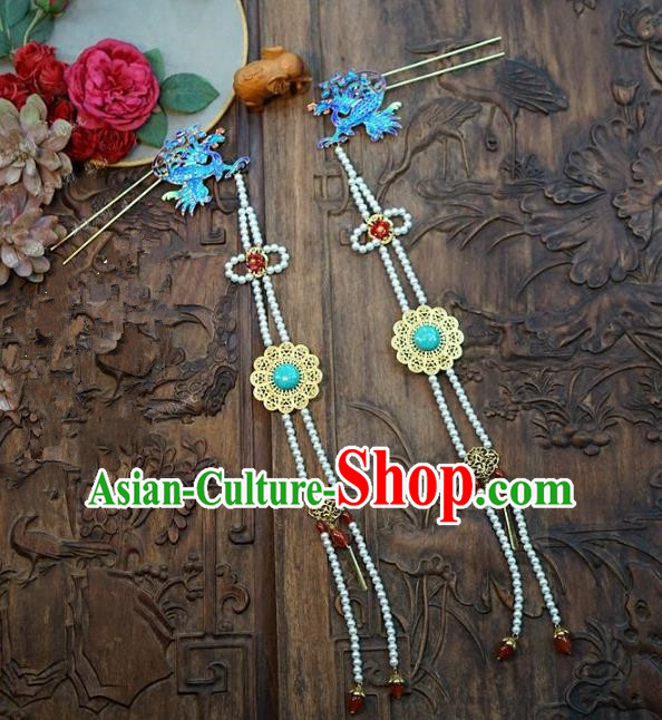 Chinese Handmade Classical Hair Accessories Ancient Palace Lady Tassel Step Shake Phoenix Hairpins for Women