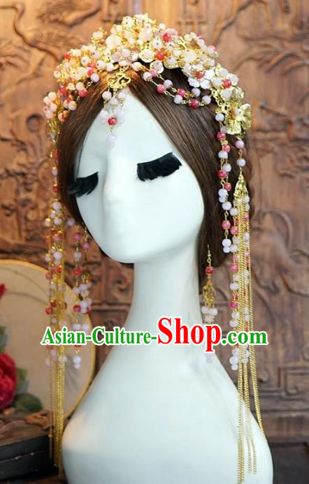 Chinese Handmade Classical Hair Accessories Ancient Bride Hairpins Beads Phoenix Coronet for Women