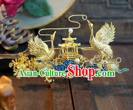 Chinese Ancient Handmade Classical Wedding Hair Accessories Xiuhe Suit Crane Hairpins for Women