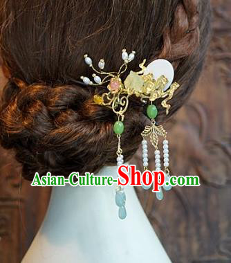 Chinese Handmade Classical Hair Accessories Ancient Hairpins Bride Jade Hair Clip for Women