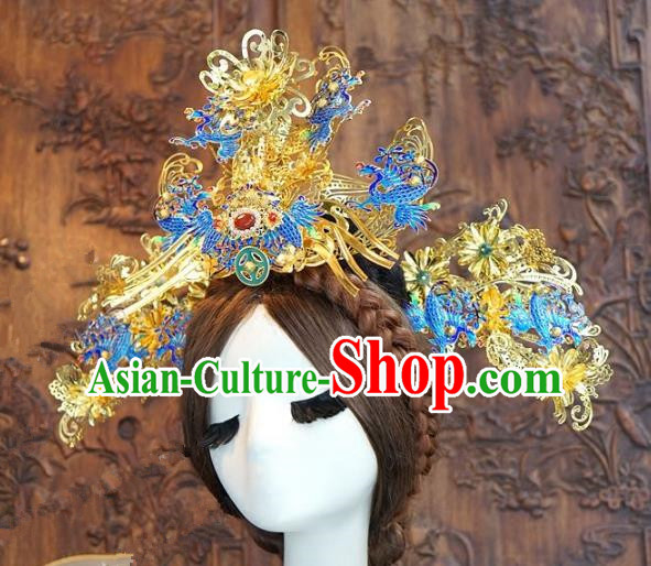 Chinese Handmade Classical Hair Accessories Ancient Cloisonne Phoenix Coronet Hairpins Bride Hair Clip for Women