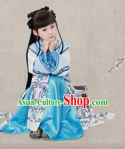 Traditional Chinese Qing Dynasty Young Lady Costume, China Ancient Children Xiuhe Clothing for Kids