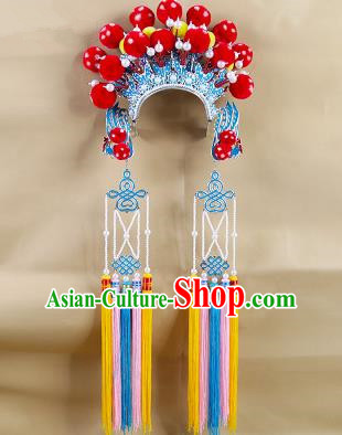 Chinese Beijing Opera Warriors Red Venonat Headpiece, China Peking Opera Blues Helmet