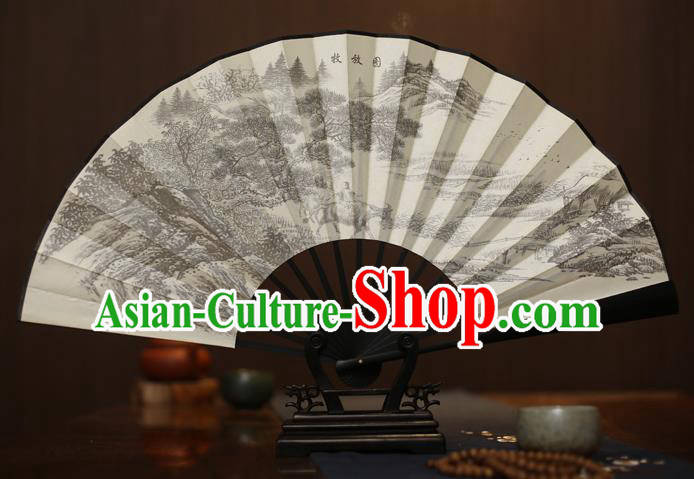 Traditional Chinese Crafts Printing Forest White Folding Fan, China Sculpture Framework Silk Fans for Men