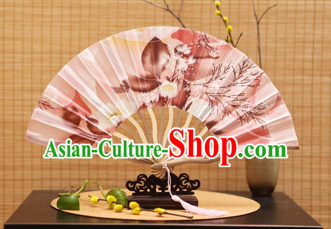 Traditional Chinese Crafts Printing Pink Silk Folding Fan Sensu Fans for Women