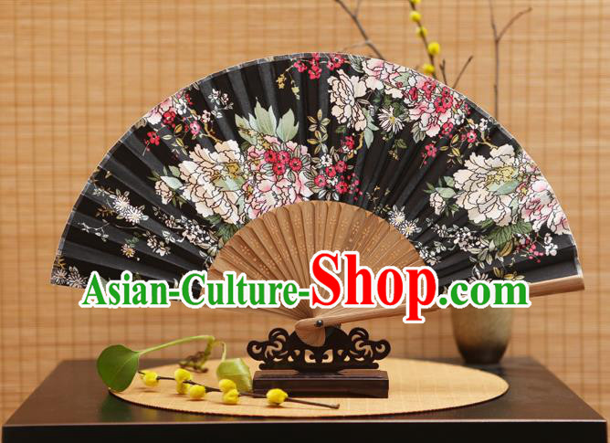 Traditional Chinese Crafts Folding Fans Printing Flowers Black Silk Fan for Women