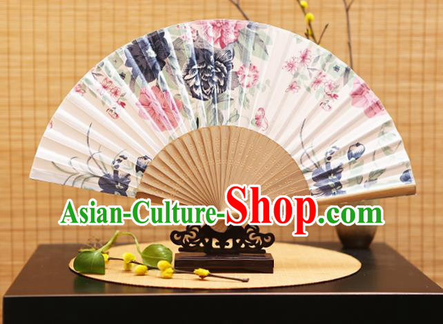 Traditional Chinese Crafts Folding Fans Printing Flowers White Silk Fan for Women