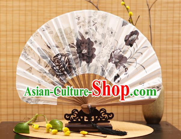 Traditional Chinese Crafts Shell Silk Folding Fan Ink Painting Peony Flowers Bamboo Fans for Women