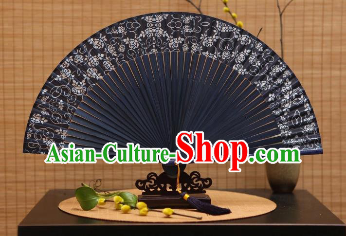 Traditional Chinese Crafts Printing Flowers Black Silk Folding Fan Sensu Fans for Women