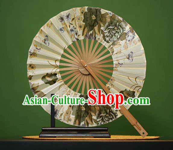 Traditional Chinese Crafts Ink Painting Flowers Silk Folding Fan, China Beijing Opera Round Fans for Women