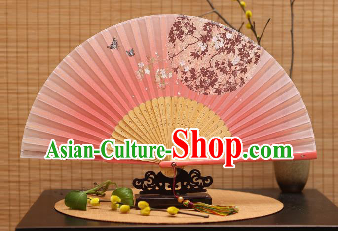 Traditional Chinese Crafts Printing Oriental Cherry Pink Folding Fan, China Beijing Opera Silk Fans for Women