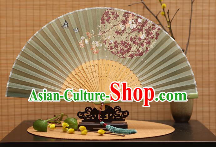 Traditional Chinese Crafts Printing Oriental Cherry Green Folding Fan, China Beijing Opera Silk Fans for Women