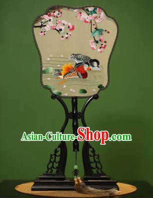 Traditional Chinese Crafts Embroidered Mandarin Duck Silk Fan, China Palace Fans Princess Square Fans for Women