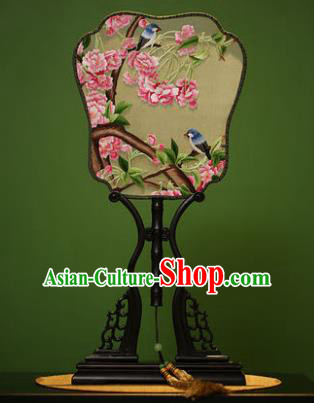 Traditional Chinese Crafts Embroidered Malus Halliana Silk Fan, China Palace Fans Princess Square Fans for Women