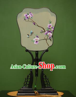 Traditional Chinese Crafts Embroidered Purple Flowers Silk Fan, China Palace Fans Princess Square Fans for Women