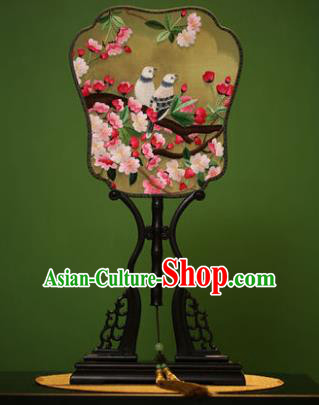Traditional Chinese Crafts Embroidered Pink Flowers Silk Fan, China Palace Fans Princess Square Fans for Women