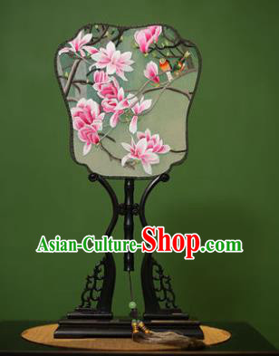Traditional Chinese Crafts Embroidered Magnolia Silk Fan, China Palace Fans Princess Square Fans for Women