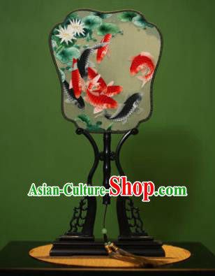 Traditional Chinese Crafts Embroidered Fishes Silk Fan, China Palace Fans Princess Square Fans for Women