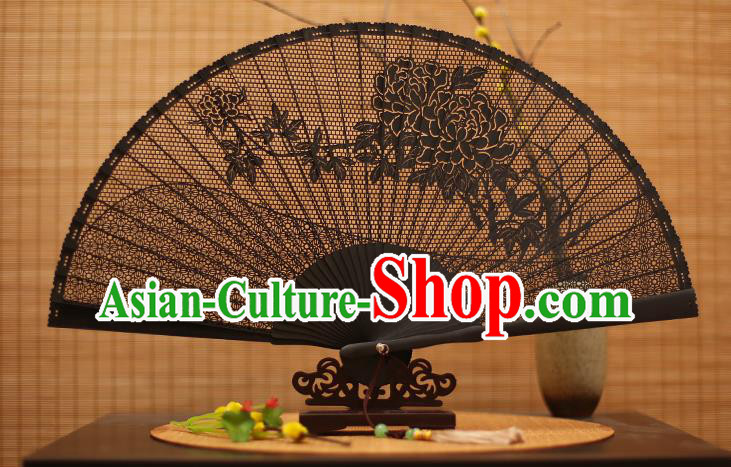 Traditional Chinese Crafts Black Sandalwood Folding Fan, Chinese Hollow Out Peony Fans Bamboo Fans for Women