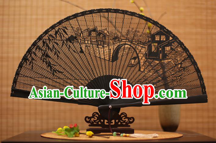 Traditional Chinese Crafts Black Sandalwood Folding Fan, Chinese Hollow Out Bridge Fans Bamboo Fans for Women