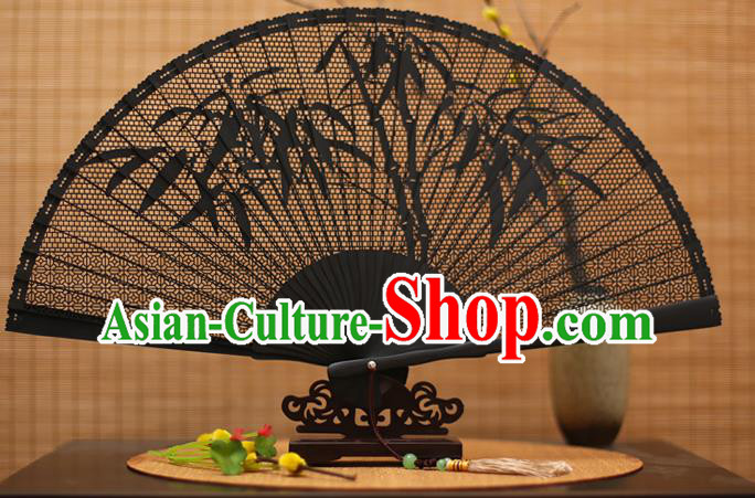 Traditional Chinese Crafts Black Sandalwood Folding Fan, Chinese Hollow Out Bamboo Fans Bamboo Fans for Women