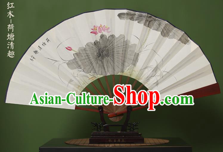 Traditional Chinese Crafts Ink Painting Lotus Folding Fan, China Handmade Xuan Paper Fans for Men