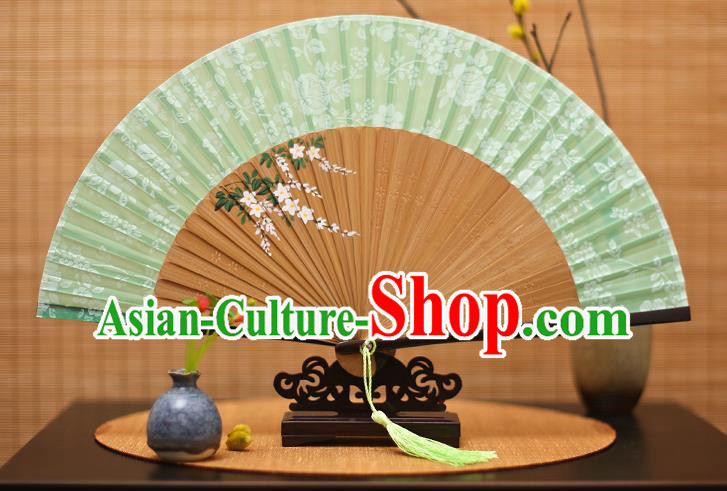 Traditional Chinese Crafts Folding Fan, China Printing Flowers Green Silk Fans for Women
