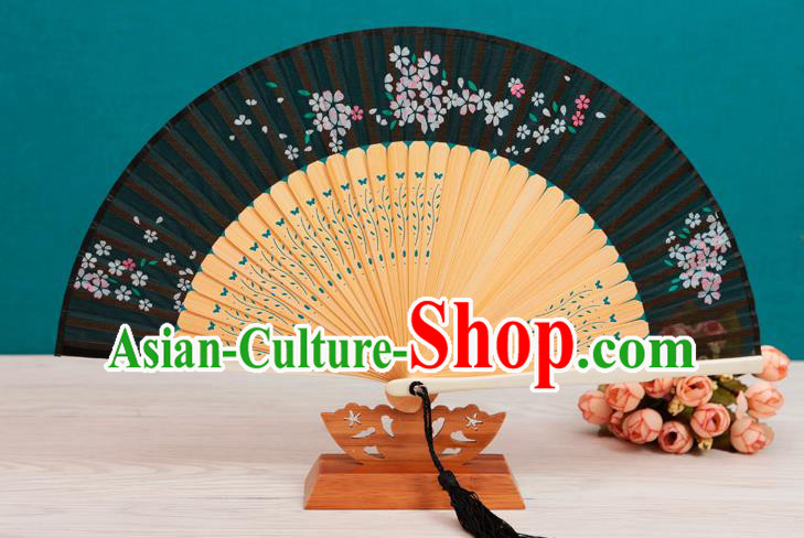 Traditional Chinese Crafts Folding Fan, China Printing Flowers Black Silk Fans for Women