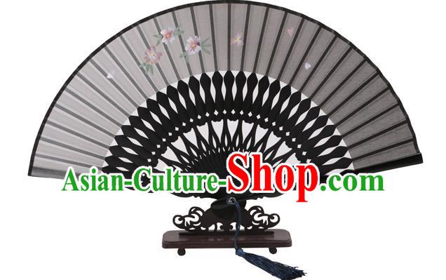 Traditional Chinese Crafts Hand Painting Flowers Folding Fan, China Handmade Black Silk Bamboo Fans for Women
