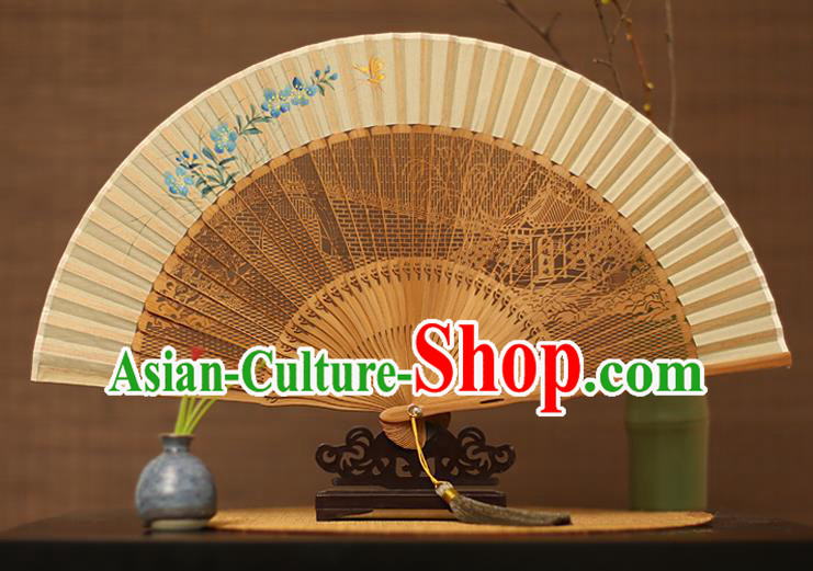 Traditional Chinese Crafts Hand Painting Blue Flower Silk Folding Fan, China Handmade Hollow Out Bamboo Fans for Women