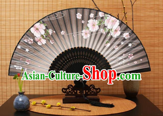 Traditional Chinese Crafts Printing Flowers Black Folding Fan, China Handmade Bamboo Fans for Women