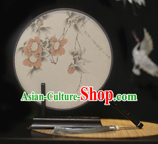 Traditional Chinese Crafts Printing Flowers Silk Round Fan, China Palace Fans Princess Circular Fans for Women